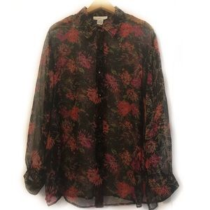 Anna and Frank Silk Floral Sheer Blouse Buttons